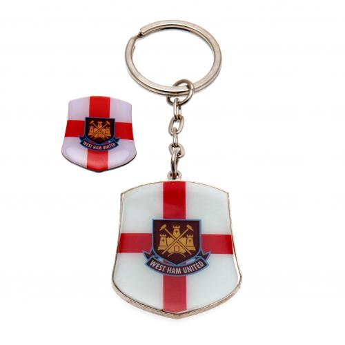 West Ham United FC Keyring & Badge Set - St George