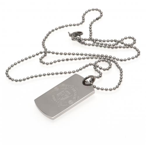 Manchester United FC Dog Tag & Chain - Engraved Crest