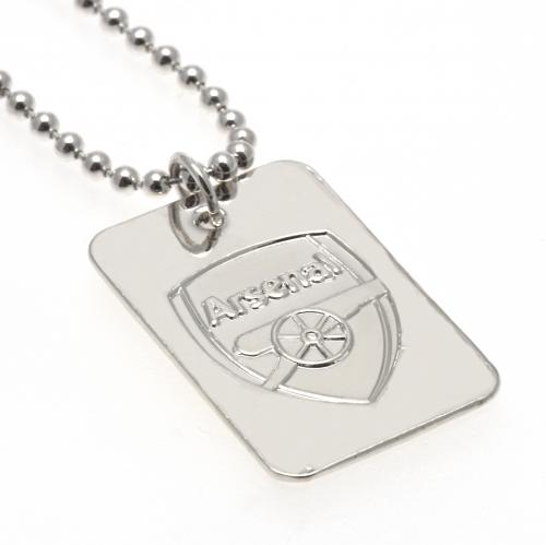Arsenal FC Dog Tag & Chain - Silver Plated