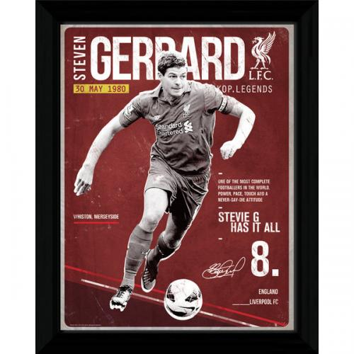 Steven Gerrard Picture - Framed - 16 x 12 - Retro
