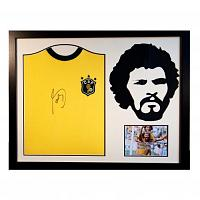 Socrates Signed Brazil Home Shirt & Silhouette - Framed