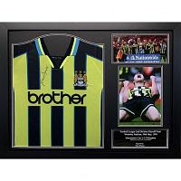 Manchester City FC Dickov Signed Shirt (Framed)