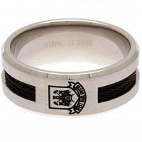 West Ham United FC Black Inlay Ring Medium CT