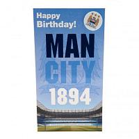 Manchester City FC Birthday Card & Badge EST