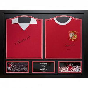 Manchester United FC Charlton & Law Signed Shirts (Dual Framed) 1