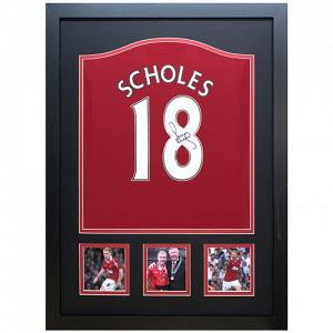 Manchester United FC Scholes Signed Shirt (Framed) 1