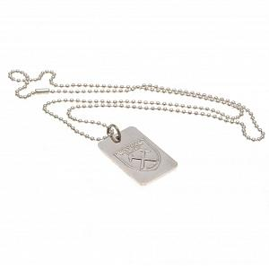 West Ham United FC Silver Plated Dog Tag & Chain 1