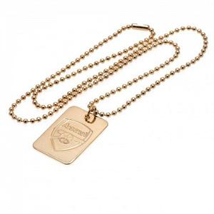 Arsenal FC Dog Tag & Chain - Gold Plated 1