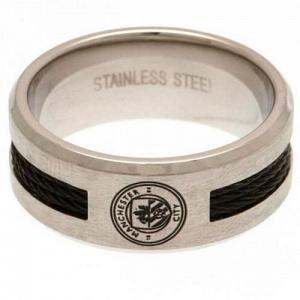 Manchester City FC Ring - Black Inlay - Size R 1